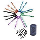 MUROAD Media Grandezza Freccette Alberi in Alluminio -15 pezzi 53mm asta freccette con filetto 2BA e 15 x O-Ring Anelli in gomma , 1x Mola per Freccette