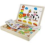 BaoCore Puzzle en Bois Magnétique Puzzle Tableau Jouet Educatif Créativif pour Enfant 3 - 6 ans Early Learning Double Face Multifonctionnel Personne/Ferme avec Stylo 30x23x4cm