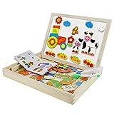 BXT Kinder Holzpuzzle Magnetische Puzzle Doppelseitig Schwarz Weiß Brett Multifunktionale Baby Lernspielzeug Intelligenz Spielzeug Pädagogisches Educational Toys Geburtstag Weihnachtsgeschenk für Kinder Kleinkinder über 3 Jahre Alter