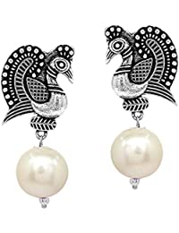 V L IMPEX Dancing Peacock Style Black Metal With Pearl Color Beads Silver Palted Oxidized Stud Drop earring
