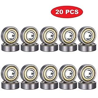 CESHUMD 608ZZ Roulements à Billes de qualité 8 x 22 x 7mm, ABEC-7, Lot de 20 Roulement à Bille, Rainure Profonde Miniature à Double Blindage, pour Roller, Skateboard, Longboard, Waveboard
