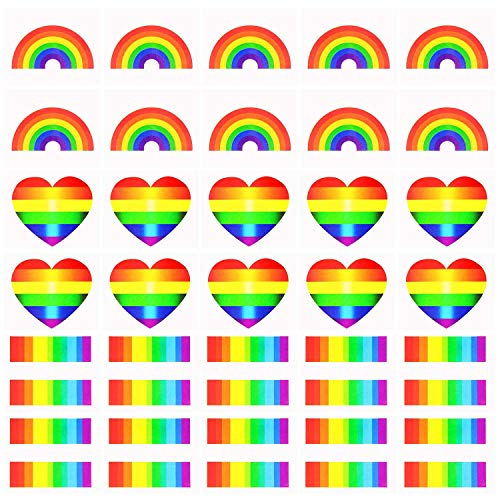 Vamei 24pezzi tatuaggi temporanei gay pride lgbt accessori stickers rainbow flag bandiera lgbt body tattoo 3 forme