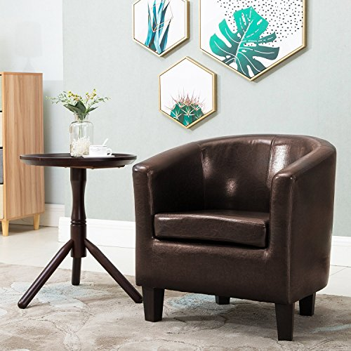 Leisure Zone PU Leather Tub Chair Armchair Single Striped Sofa for Lounge Dining Living Room Seating Office Reception (Brown)
