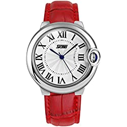 OUMOSI Elegant Lady Waterproof with Genuine Leather Strap Casual Watches