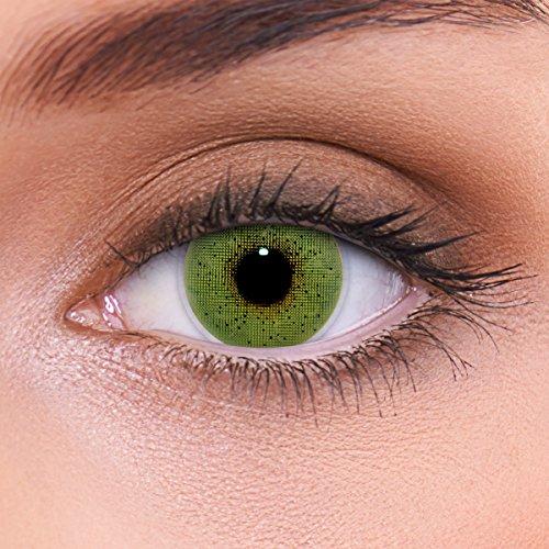 """Stark deckende natürliche grüne Kontaktlinsen farbig """"Solid Green"""" + Behälter von LENZOTICA I 1 Paar (2 Stück) I DIA 14.00 I ohne Stärke I 0.00 Dioptrien"""