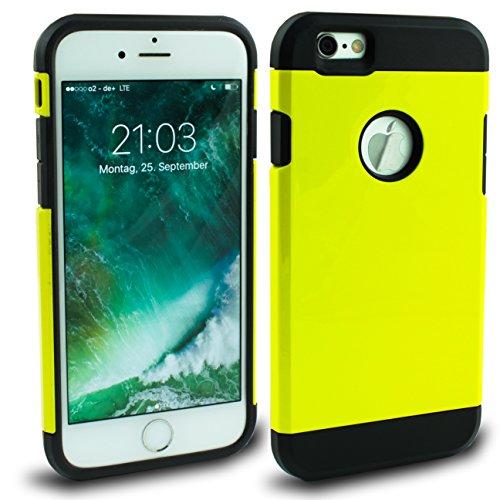 Iphone 6s 6 Outdoor Hülle Pink Case inklusive Panzerglas 9H Cover Schutzhülle Hybrid Bumper Bunt Pink Gelb