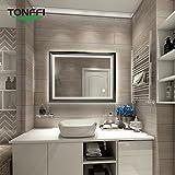 Tonffi® Badspiegel Spiegel mit Beleuchtung Schwarz Wandspiegel LED Naturweiß (800 * 600 * 50MM, 25W, 4000K)