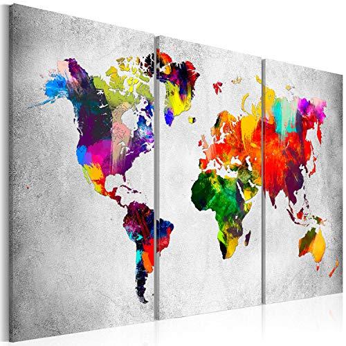Murando - quadro 120x80 cm - xxl formato -quadro su tela fliselina - stampa in qualita fotografica – 3 parti mappa del mondo colorato k-a-0098-b-e