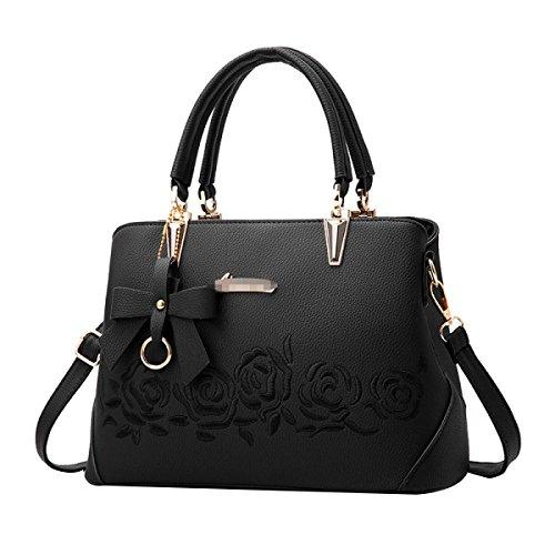 Dame Fashion Rose Embossing Handtasche Frauen PU Leder Satchel Tote Umhängetasche Mehrfarbig Black