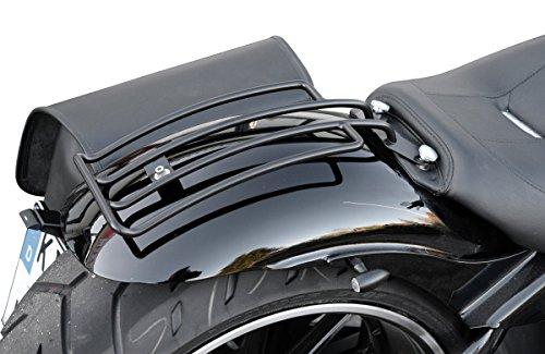 Gepäckträger schwarz Softail Solositz speziell für Heritage+Springer Classic, Deluxe, Breakout und FatBoy, außer Heritage Springer HD Buffalo Bag. -