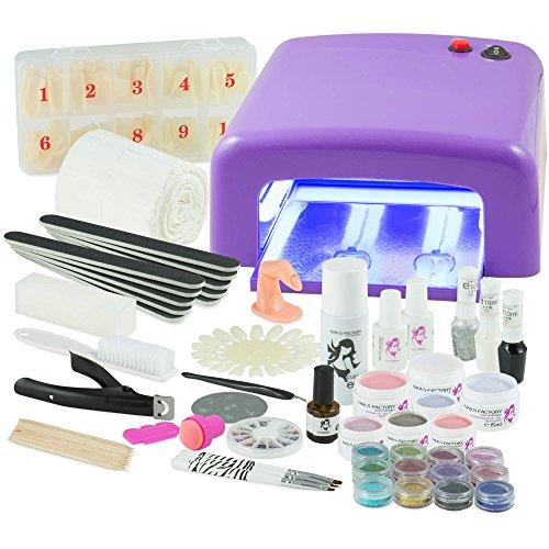 UV Gel Nagelstudio Starter Set - optimaler Einstieg in das eigene Nageldesign mit dem Nagelset dank viel Nailart, UV Lampe und Farbgel Set Ice Cold (lila)