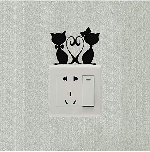 Zemn Wall Sticker Liebevolle Kätzchen HochzeitRaumdekorationSchalter Aufkleber Vinyl KunstWandtattoos 2Tlg -