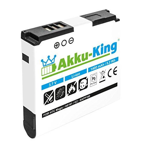 Akku-King Akku für HTC Magic, A6161, Sapphire 100, Pioneer, Vodafone Google G2, T-Mobile MyTouch 3G, G1 Touch - ersetzt BA-S350, SAPP160 - Li-Ion 1400mAh