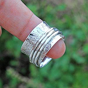 Floral Texture Spinning Band Rings, Anxiety Ring for Meditaion, Gift Ring for Mother's Day, 925 Sterling Silver Spinner…