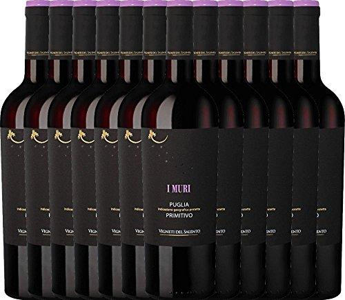 12er Paket - I Muri Primitivo Puglia IGP 2017 - Vigneti del Salento | trockener Rotwein | italienischer Wein aus Apulien | 12 x 0,75 Liter