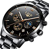 Mens Watches LIGE Stainless Steel Black Classic Luxury Business Casual Watches With Moon