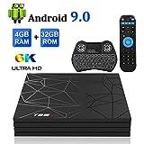 Android TV Box, T95 MAX Android 9.0 TV Box 4GB RAM/32GB ROM Quad-Core Supporto 2.4Ghz WIFI 6K Smart TV Box con Wireless Mini Tastiera
