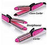 HOVRTM 3 IN 1 Professional Hair Straightener Crimper Roller Hair Styler For Women(PINK)