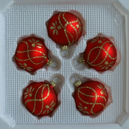 Kugeln rot matt mit Ranken 5 Stück d 5cm Christbaumschmuck Weihnachtsbaumschmuck mundgeblasen, handdekoriert Lauschaer Glas das Original