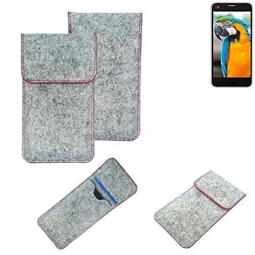 K-S-Trade® Filz Schutz Hülle Für -Vestel V3 5040- Schutzhülle Filztasche Pouch Tasche Case Sleeve Handyhülle Filzhülle Hellgrau Roter Rand