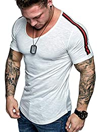 8f42695f1eef2 Camiseta Casual para Hombre Slim Fit Cuello Redondo Deportiva Transpirable  Moda Polyester Blusa Gimnasio Camisa Original Verano…