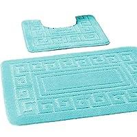 EDS New Greek Style 2 Piece Bath Mat Set Non-Slip 13 Colours (Aqua)