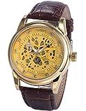 AMPM24 Reloj Automático Hombre Analógico, Correa de Cuero Sintético Marrón PMW424