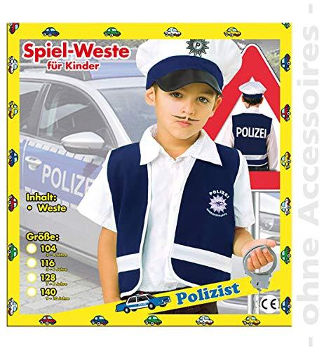 Kostüm Wachmann Kinder - Unbekannt Polizist Kostüm Wachmann Polizeikostüm Kinder Weste Kinderkostüm