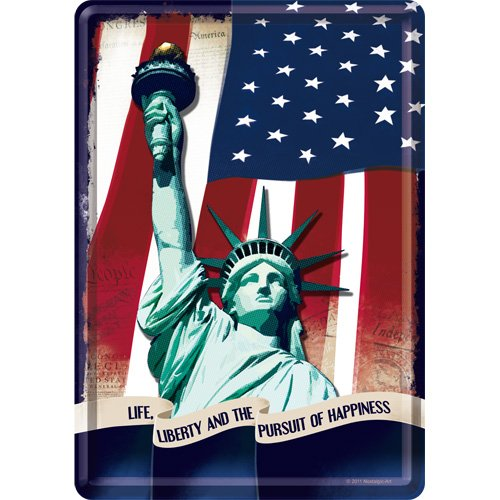 Nostalgic-Art 10139 USA - Statue of Liberty, Blechpostkarte 10x14 cm