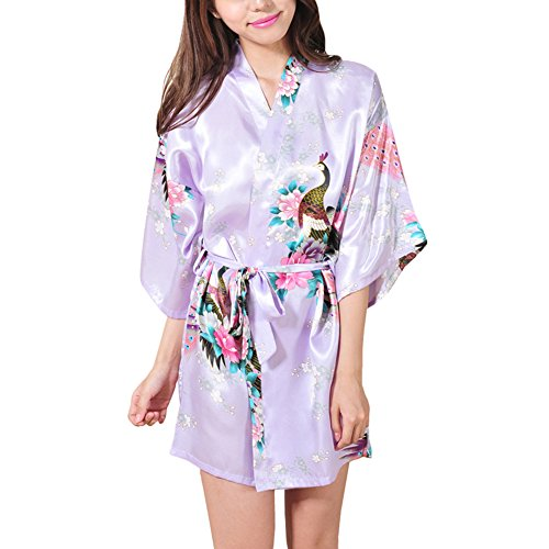 Waymoda Women Luxury Silky Satin Evening Dressing Gown, Ladies Peacock and Blossoms Pattern Kimono Pajamas, 10+ Color, 4 Sizes Optional - Short style (Blossom Mini-kleid)