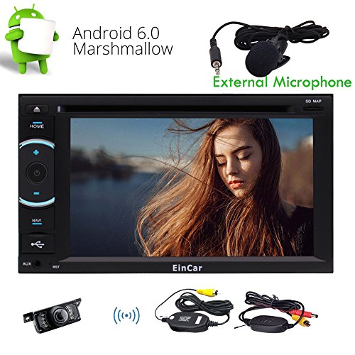 EINCAR Wireless-Kamera inklusive Android 6.0 Eibisch Quad-Core-Doppel-DIN-GPS-Auto-Stereo-System Naviagtion kapazitive Screen-Multi-Language Autoradio Bluetooth WiFi Radio FM/AM RDS Recevier U