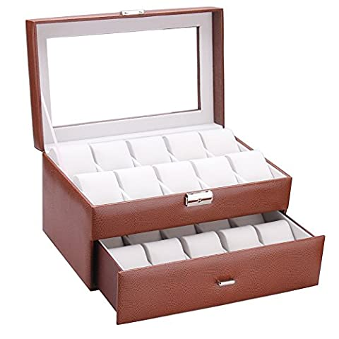Rowling 20slots Faux Leather Watch Display Case Box Jewelry Bead Storage Box 020