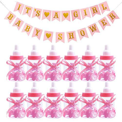 WENTS 12 PCS Rosa Baby Candy Mädchen Box Baby Flasche Baby Shower Geschenk Box mit 1 Baby Shower Banner Party Taufe Geschenkpaket