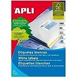 APLI 1280 - Etiquetas (100 hojas), color blanco