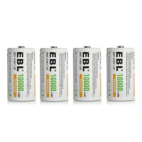 EBL 4 Pack 10000mAh D Size Rechargeable Batteries Super Capacity