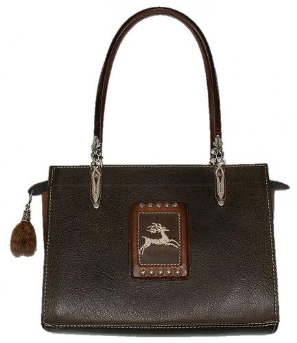 Trachtentasche Tasche Handtasche Federkiel-Optik Jagd Hirsch Ledertasche braun (Bag Fell Handtasche Purse)