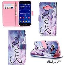 Dokpav® Samsung Galaxy Core Prime SM-G360 Funda,Ultra Slim Delgado Flip PU Cuero Cover Case con Interiores Slip compartimentos para tarjetas-Nubes sonrisa