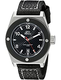 gino franco Men's 9658BK Round black PVD Plated Stainless Steel Calf Leather Strap Watch
