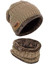 Sombrero de Invierno con Bufanda para Hombre y Mujer Gorro de Punto de Pelitos Caliente Suave Sombrero al Aire Libre Unisex, Caqui