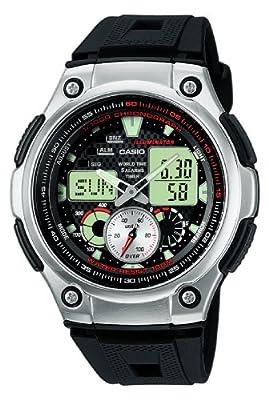CASIO Casio Collection AQ-190W-1AVEF - Reloj de caballero de cuarzo, correa de resina color negro (con cronómetro, alarma, luz)