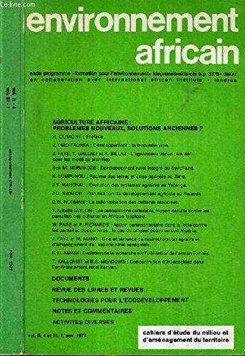ENVIRONNEMENT AFRICAIN - PROGRAMME