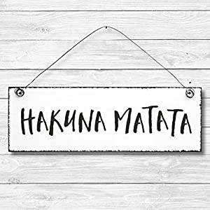Hakuna Matata – Dekoschild Türschild Wandschild aus Holz 10x30cm – Holzdeko Holzbild Deko Schild