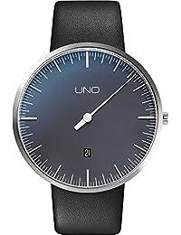 Botta Diseño Uno + aniversario Edition Reloj de pulsera–einzeiger Reloj, acero inoxidable, perlschwarzes Esfera, fecha, correa de piel