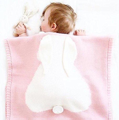 Baby-Schlafsack Baby Wolldecke Männliche Und Weibliche Baby Kinder Stricken Decke Kaninchen Quilt,Pink