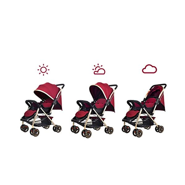 Luxury Baby Stroller Light High-Landscape Pram Portable Folding Umbrella Baby Carriage Baby Stroller on The Airplane (Color : Red) AILI-pushchairs Ten wheel front wheel four-wheel suspension, built-in bearing steering flexible four-wheel shock absorber to reduce bumps. It can be used to sit and recline freely to adjust the seasons. The measured width is wide and comfortable, creating a comfortable sleeping environment for the baby. 6