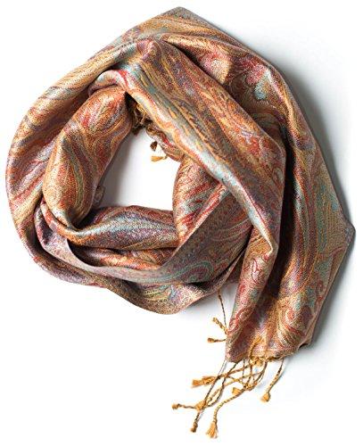 ufash Pashmina Seidenschal Tuch aus Indien, Paisley Muster, 160 x 35 cm - 100% federleichte Seide, Braun