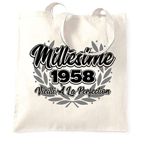 Joyeux Anniversaire Sacchetto Di Tote Millésime 1958 Vieilli à La Perfezione White