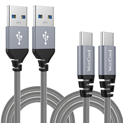 WorCord Cable USB C (2-Pack) USB 3.0 Type-C a Type-A USB 3.0 Cable de Datos, Carga Rápida 2m Cable de Conexión Nylon Cable Tipo C Sincro y carga usb para BQ Aquaris x, Huawei P9 / p10, honor 8, Samsung Galaxy S8 / S8 Plus y más otro Type-C Dispositivos - Gris Espacial
