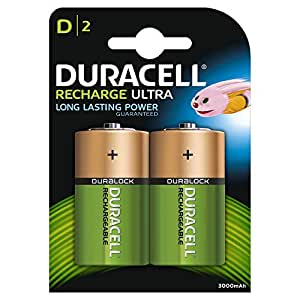 Duracell Recharge Ultra Type D Batteries 3000 mAh, pack of 2