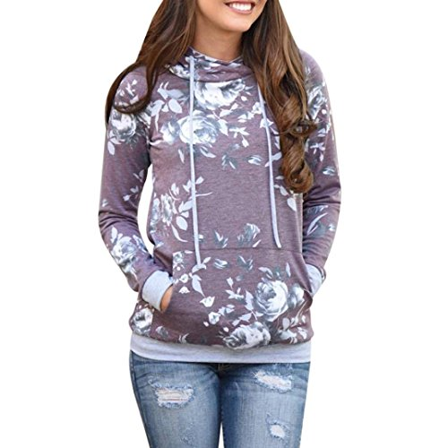 Sudadera con capucha Mujeres otoño invierno flores sueltas Jersey blusa tops by LMMVP (Púrpura, M)